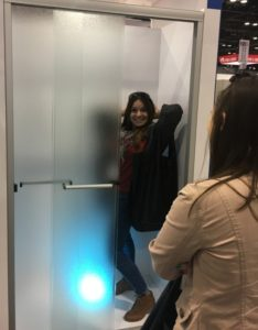 Cheryl testing the shower display at the 2017 Kitchen and Bath Industry Show