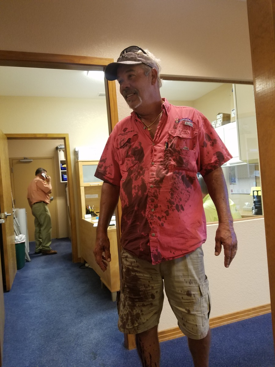 "Oops! New Home Construction Manager Bruce had a ""run-in"" with a can of stain"