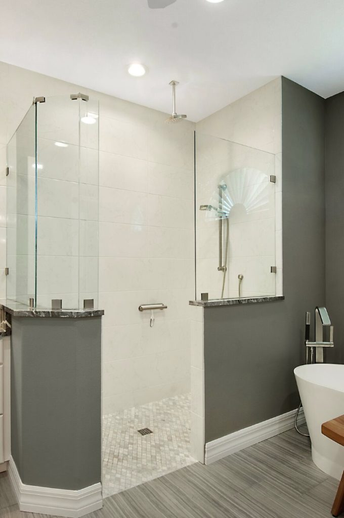 captivating gray white bathroom remodel | Elegant Gray/White Bathroom Remodel | Sandstar Remodeling