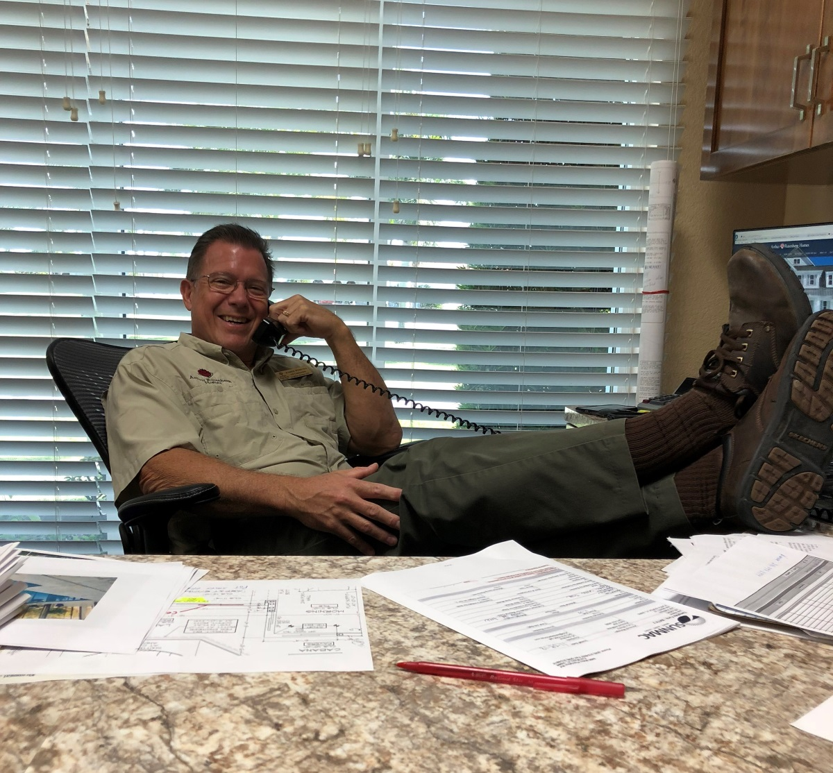 James Pobuda, Vice President of New Home Construction, on a phone call with one of our vendors!